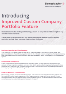 Biomedtracker Improved Custom Company Portfolio Feature