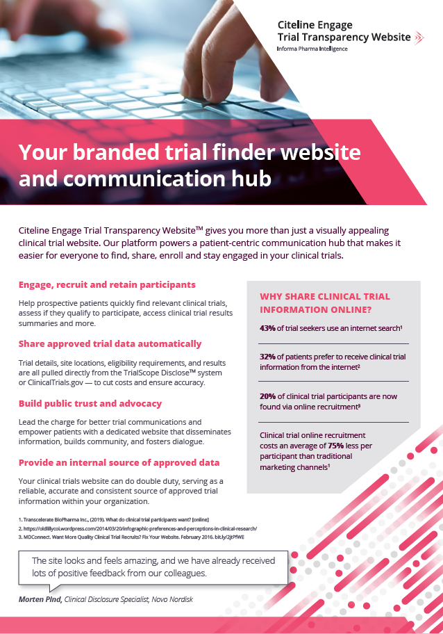 Your branded trial finder website and communication hub