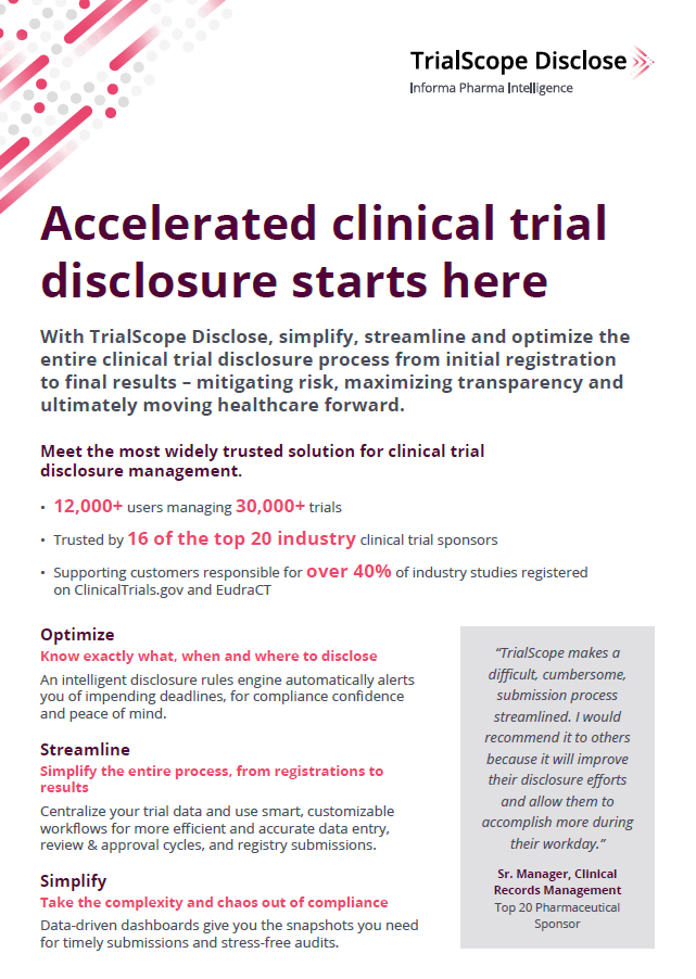 Accelerated clinical trial disclosure starts here